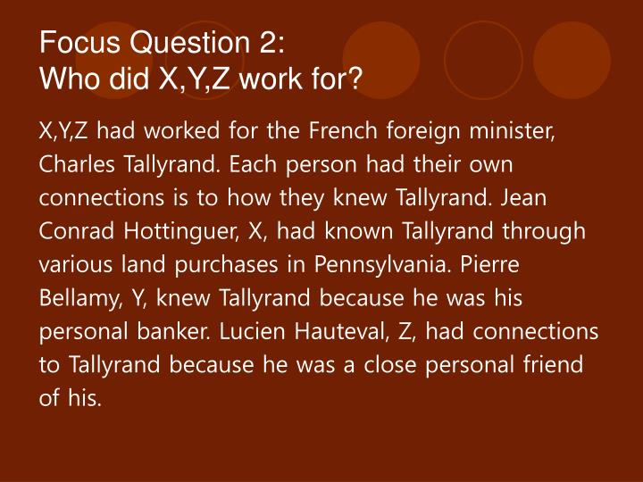 Focus Question 2: