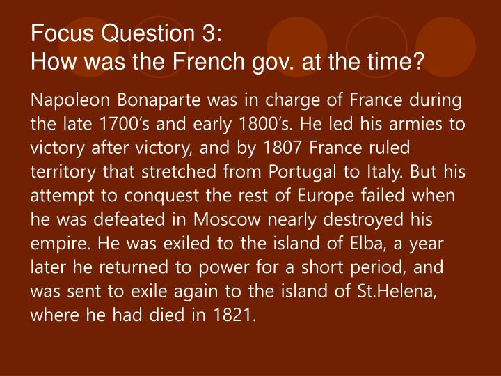 Focus Question 3: