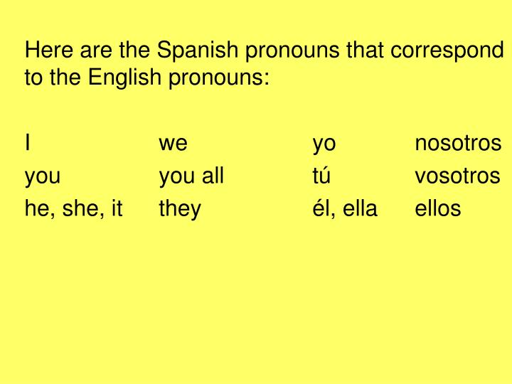Here are the Spanish pronouns that correspond to the English pronouns: