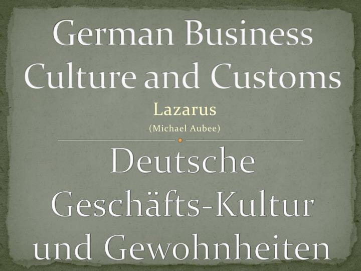 german business culture and customs