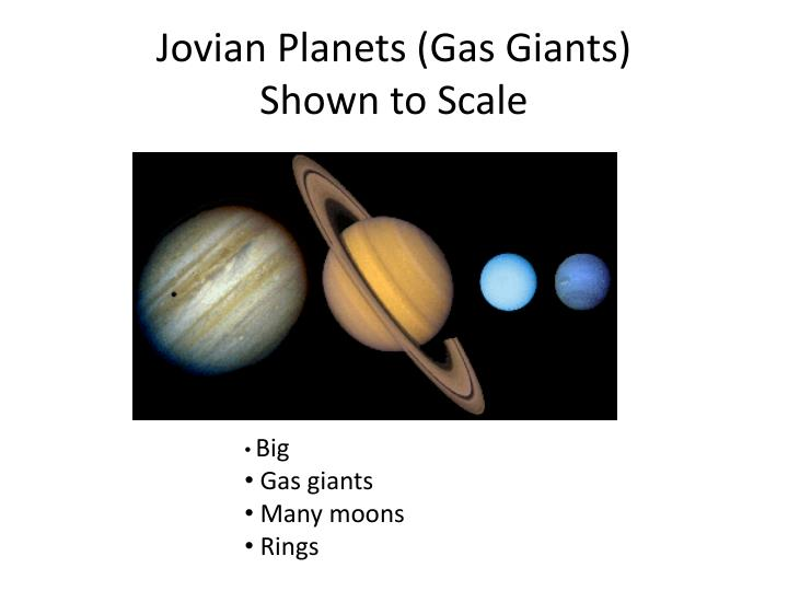 Jovian planets gas giants shown to scale