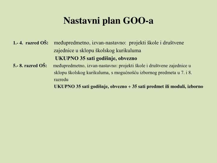 Nastavni plan GOO-a