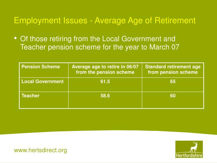 Employment Issues - Average Age of Retirement