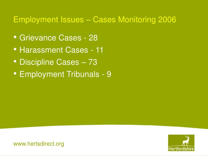 Employment Issues – Cases Monitoring 2006