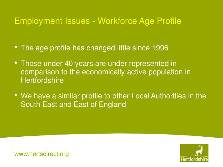 Employment Issues - Workforce Age Profile