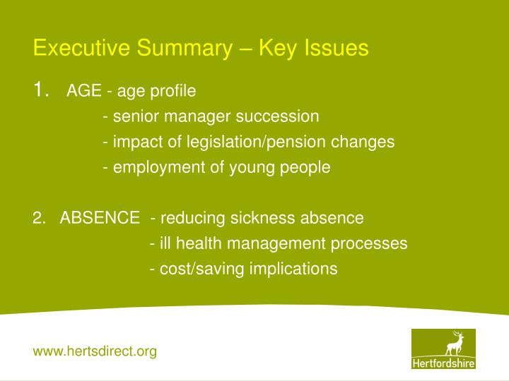 Executive Summary – Key Issues