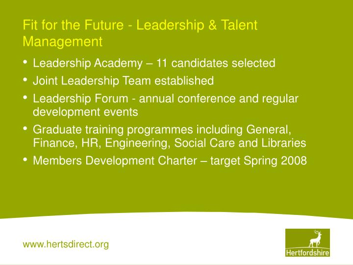 Fit for the Future - Leadership & Talent Management