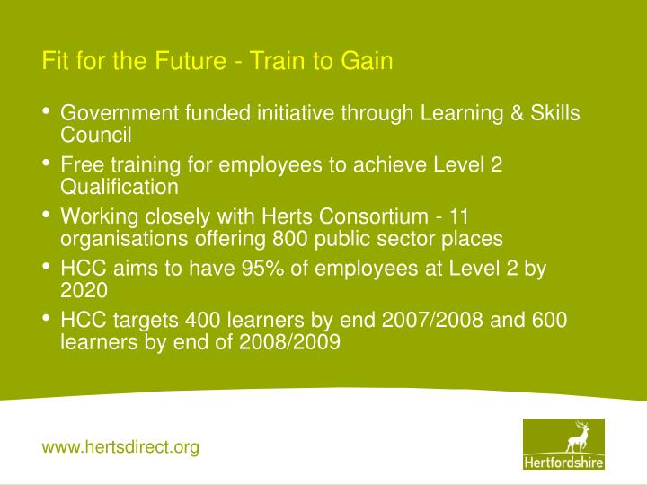 Fit for the Future - Train to Gain