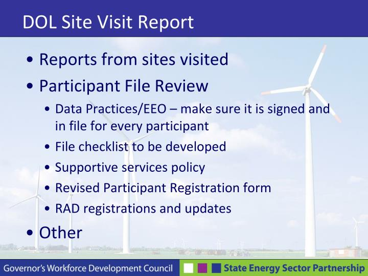 Dol site visit report