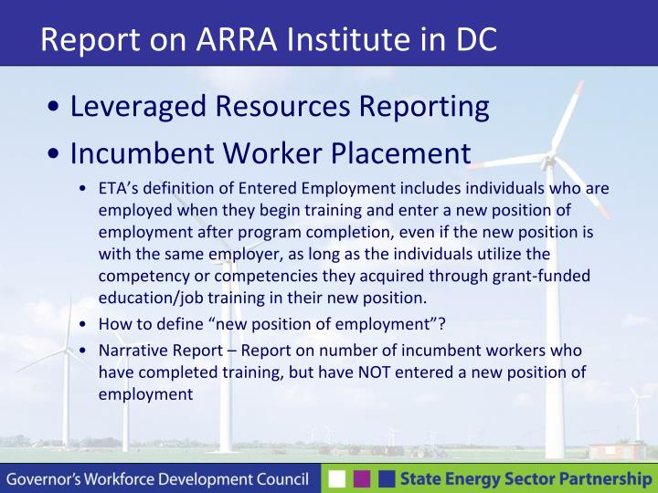 Report on ARRA Institute in DC