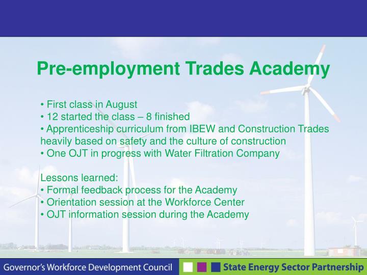 Pre-employment Trades Academy