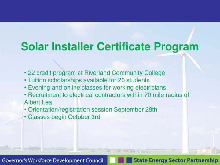 Solar Installer Certificate Program