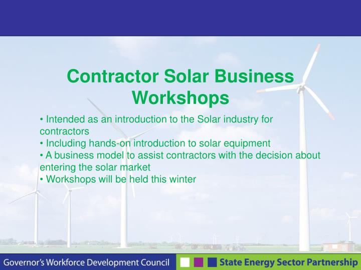 Contractor Solar Business Workshops