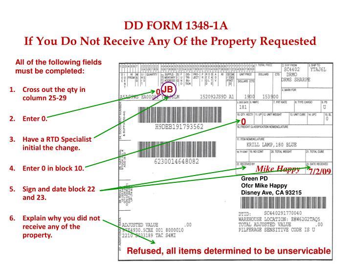 dd 1348 1a instructions