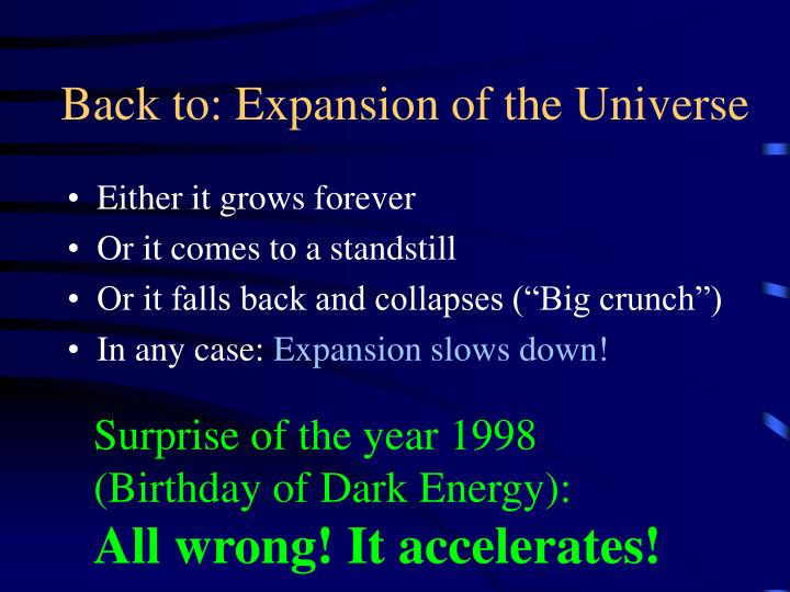Back to: Expansion of the Universe