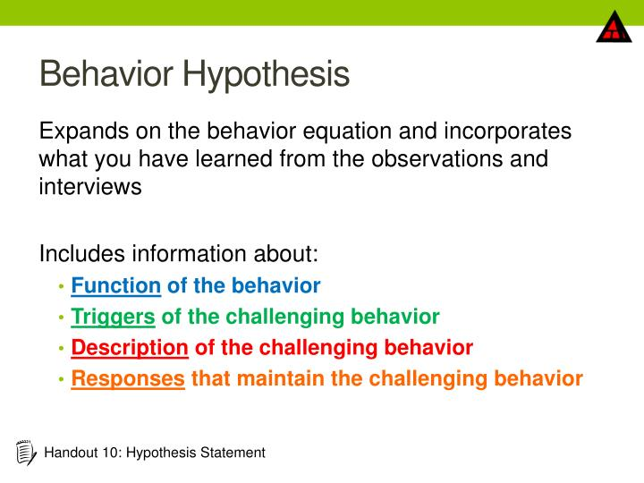 Behavior Hypothesis