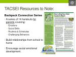 tacsei resources to note1