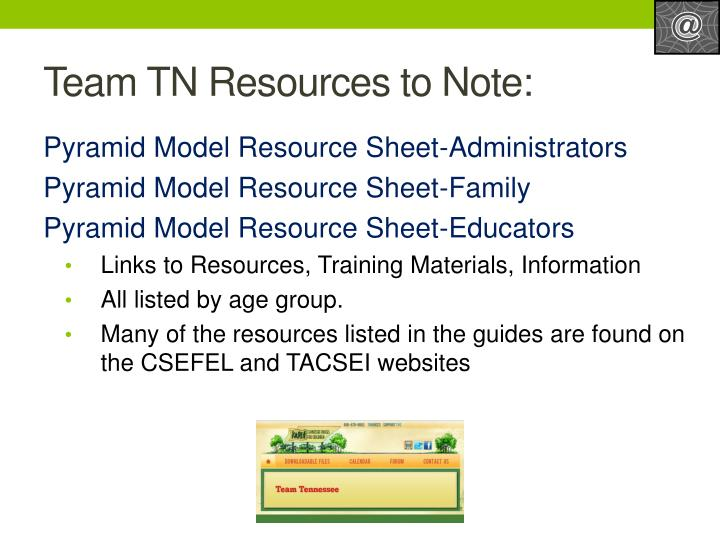 Team TN Resources to Note: