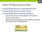 team tn resources to note