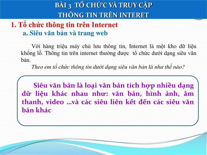 1. Tổ chức thông tin trên Internet