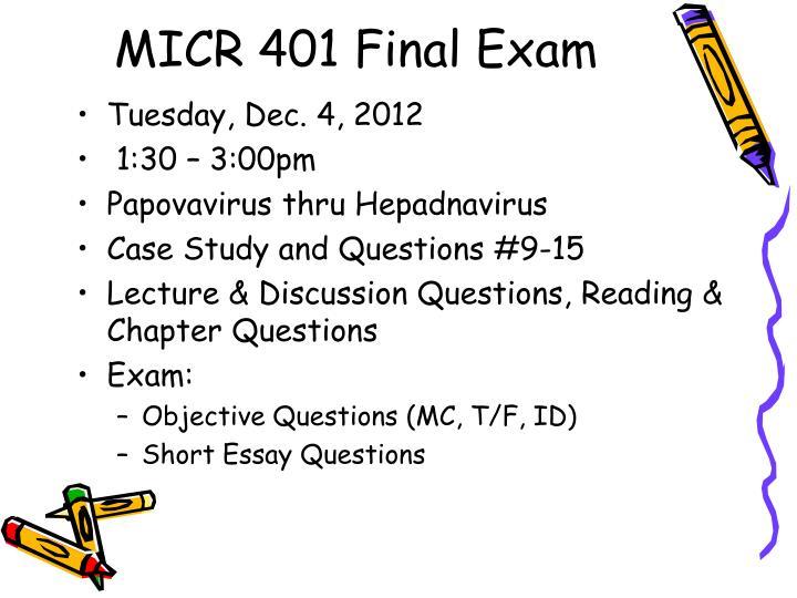 MICR 401 Final Exam