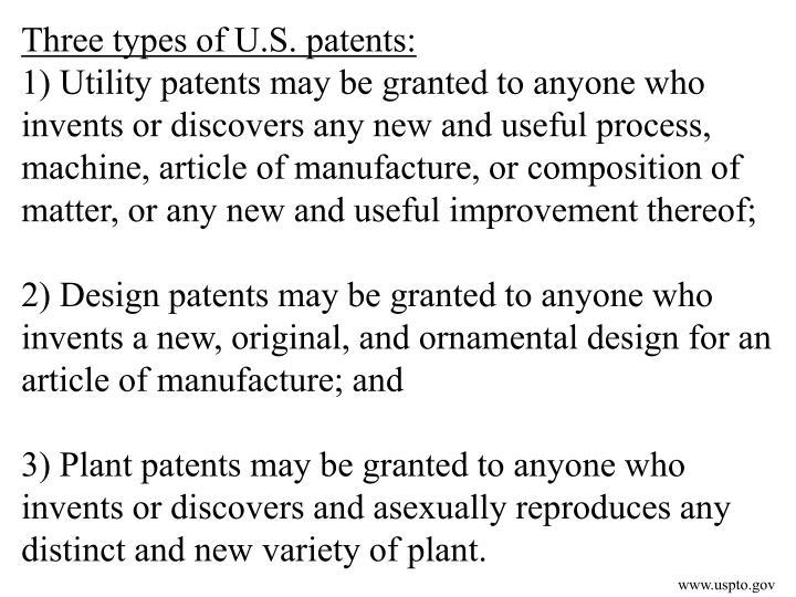 Three types of U.S. patents: