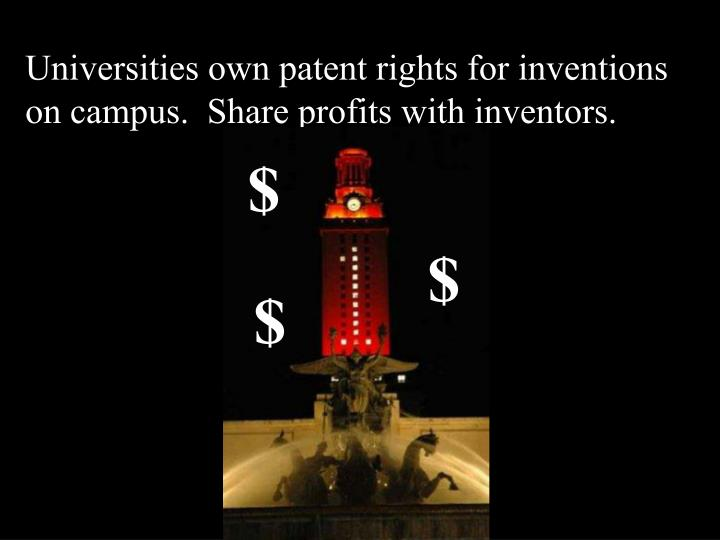 Universities own patent rights for inventions on campus.  Share profits with inventors.