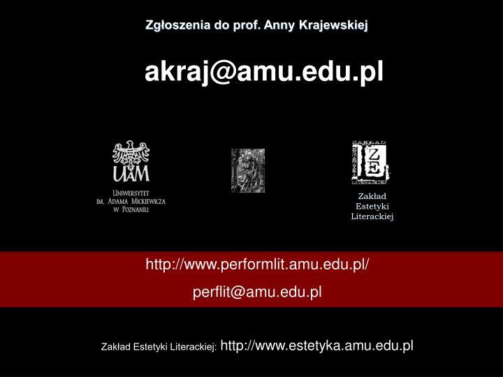Zgłoszenia do prof. Anny Krajewskiej