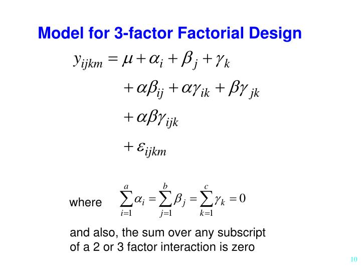 Model for 3-factor Factorial Design