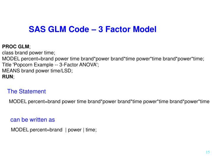 SAS GLM Code – 3 Factor Model