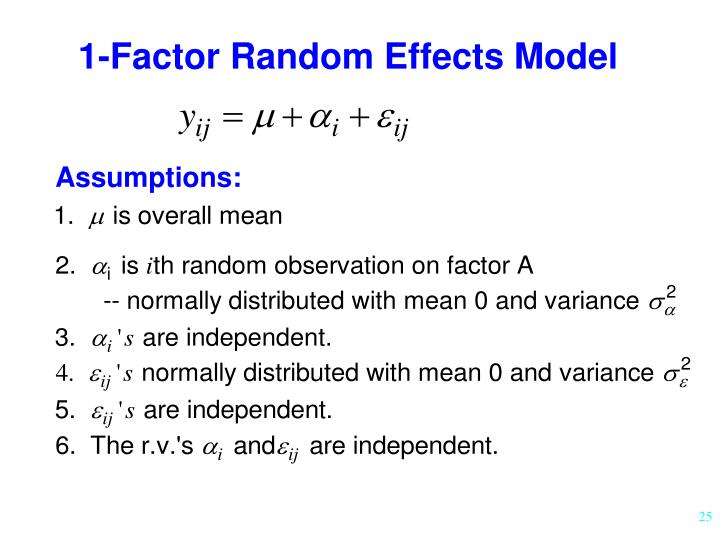 1-Factor Random Effects Model