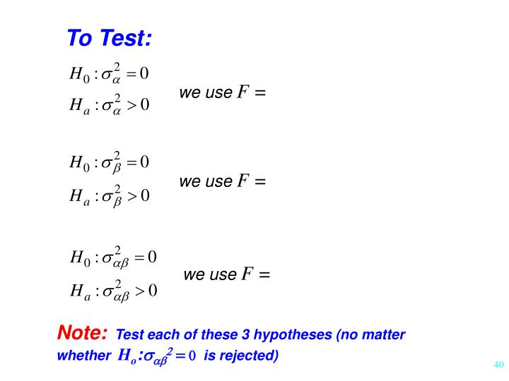 To Test: