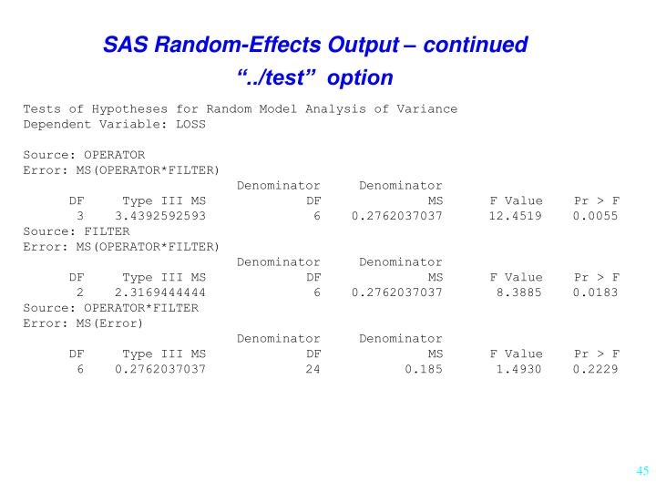 SAS Random-Effects Output – continued