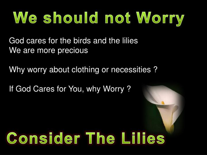 We should not Worry