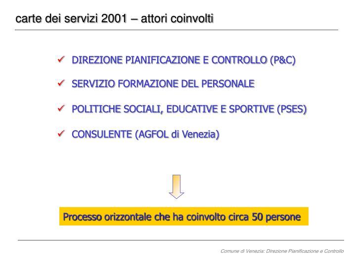 carte dei servizi 2001 – attori coinvolti