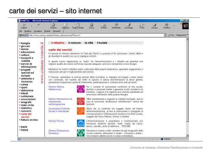carte dei servizi – sito internet