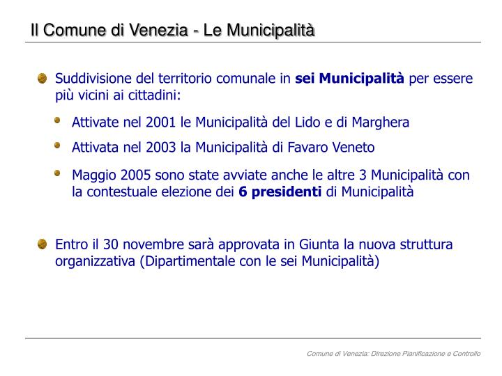 Il Comune di Venezia - Le Municipalità