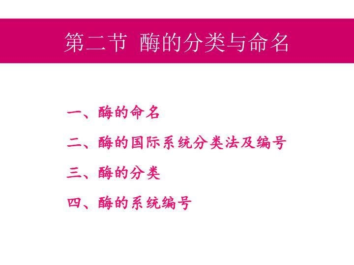 第二节 酶的分类与命名