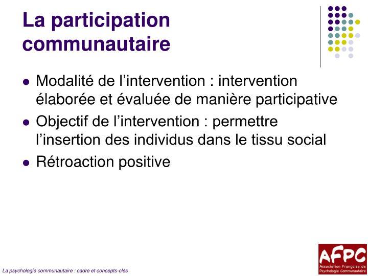 La participation communautaire