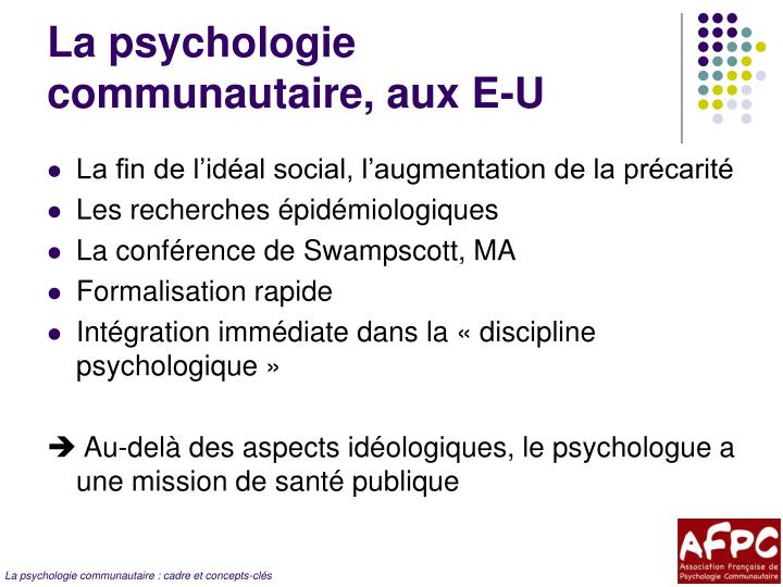 La psychologie communautaire, aux E-U