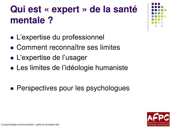 Qui est «expert» de la santé mentale ?