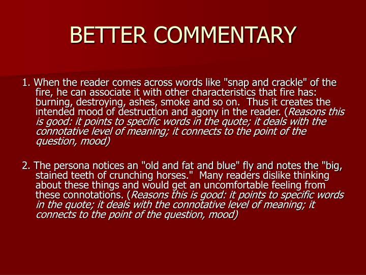 BETTER COMMENTARY