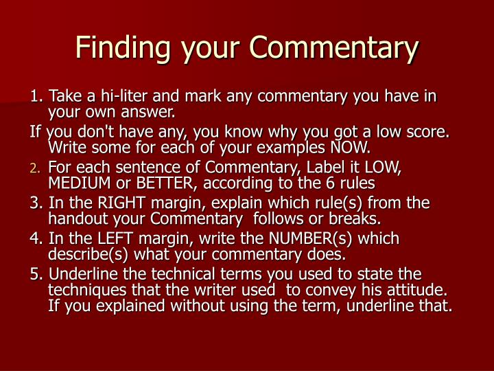 Finding your Commentary