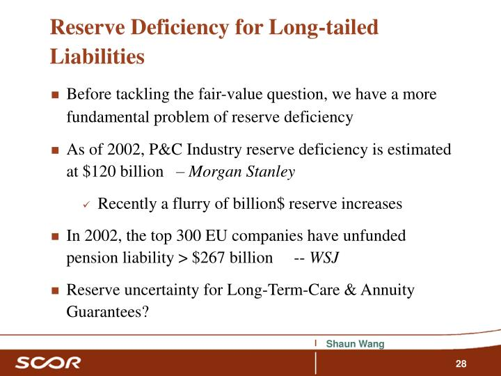 Reserve Deficiency for Long-tailed Liabilities
