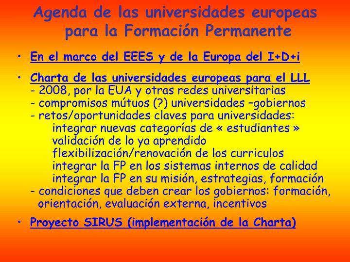 Agenda de las universidades europeas