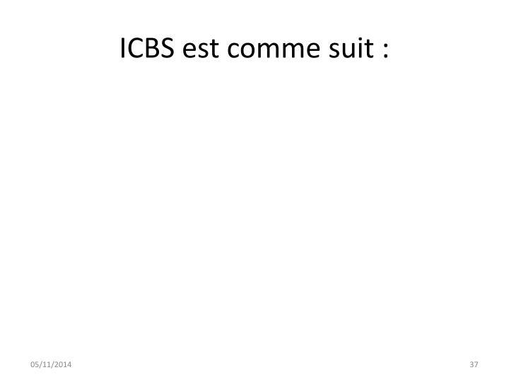 ICBS est comme suit :