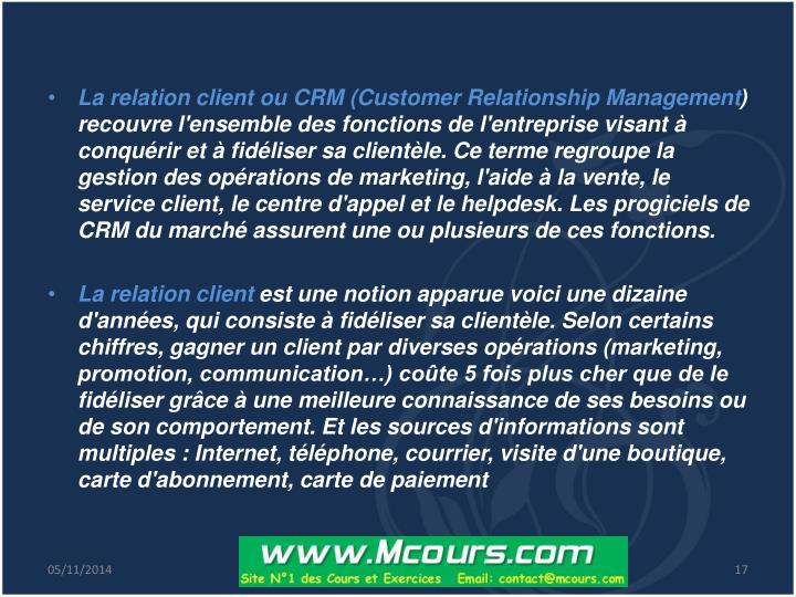 La relation client ou CRM (Customer Relationship Management