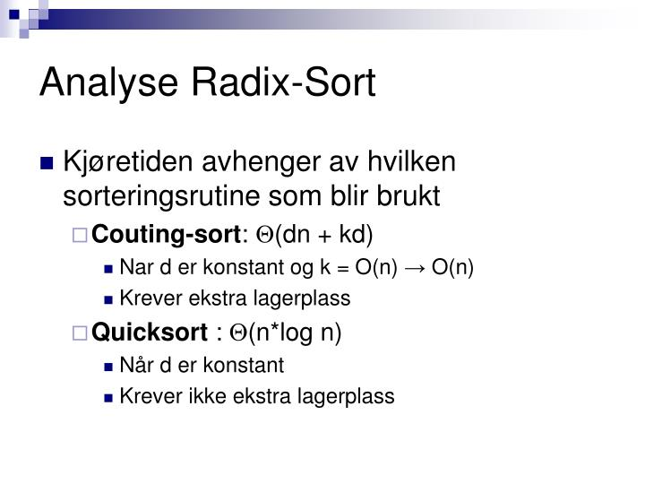 Analyse Radix-Sort