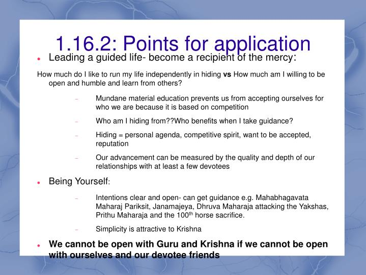 1.16.2: Points for application