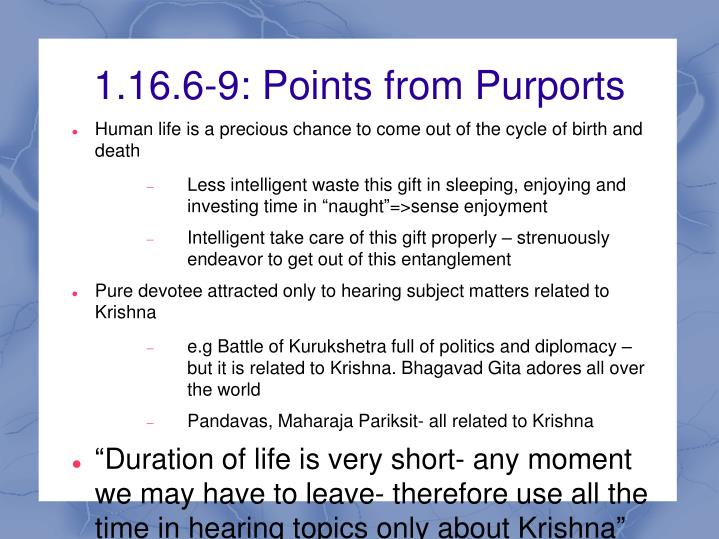 1.16.6-9: Points from Purports